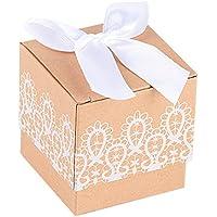 100piezas(5*5*5cm) Cajas Papel Kraft de Boda Bautizo Regalo Caramelos Dulces Bombones Chuches Peladillas Recuerdo Fiesta Cumpleaños Encaje Impreso + Lazos Blancos