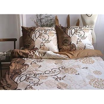 4 tlg mako satin bettw sche beige braun design 135x200 cm. Black Bedroom Furniture Sets. Home Design Ideas