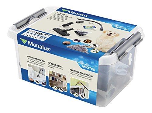 Menalux MKIT09 Erweiterungs-Set Allergy & Animal Care für 32/35mm Rundrohrsauger, Polsterdüse, Flexible Fugendüse, Mini-Turbo-Düse