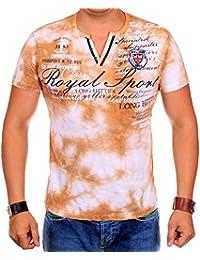T-Shirt Herren mit V-Ausschnitt | verwaschene Tshirts für Männer | Herrenshirt Kurzarm mit gestickten Details | sportliche Männer Sommer Shirts | JEEL Royal Sport 1089