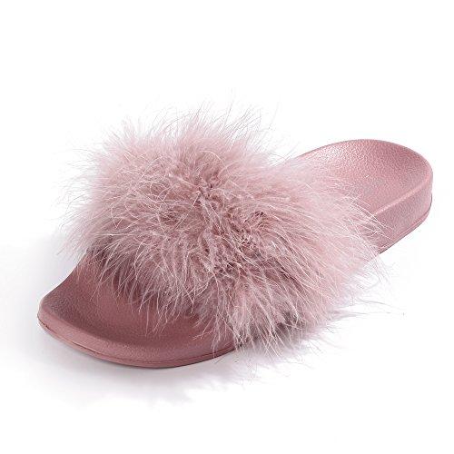 FITORY Damen Hausschuhe Plüsch Süße Pantoffeln Weiche Flache Sandalen Indoor/Outdoor, Pink Rosa, 39/40 EU