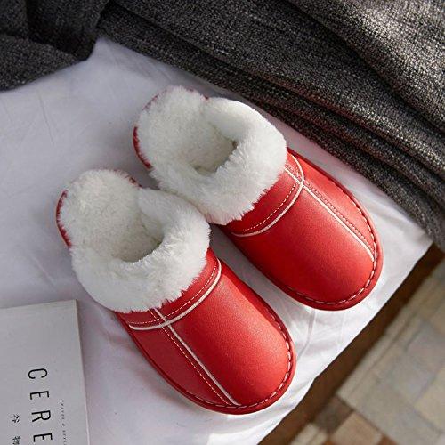 LaxBa Donna Uomo Indoor pattino antiscivolo pantofole Rosso di grandi dimensioni