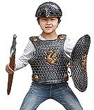 Y-BOA 4 Pcs Costume Épée Plastron Panoplie Armure Cuirasse Bouclier Plastique Déguisement Guerrier Chevalier Enfant #3
