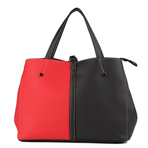 YouPue Trendy Frauen Große Handtasche Vintage PU Leder Schultertasche Henkeltaschen mit Bär Ornamente Rot