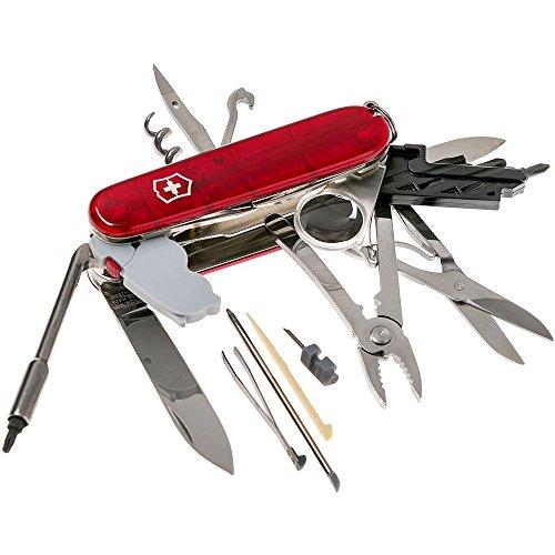 Victorinox Taschenmesser Cyber Tool Lite (34 Funktionen, Klinge, Bit-Schlüssel, LED) rot transparent