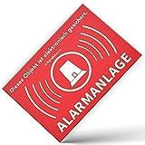 Alarm Aufkleber Alarmanlage - Achtung Alarmgesichert – Schild – Sticker (Hinweisschild – Warnschild – Warnhinweis) für Türen, Fenster, Tore – 10 Stück (5 cm x 3,5 cm)