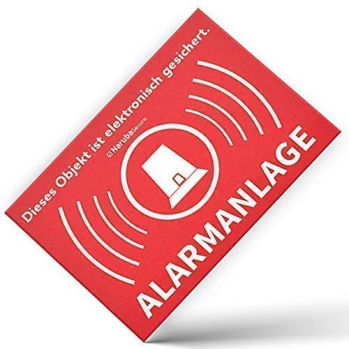 Alarm Aufkleber Alarmanlage - Achtung Alarmgesichert - Schild - Sticker (Hinweisschild - Warnschild - Warnhinweis) für Türen, Fenster, Tore - 10 Stück (5 cm x 3,5 cm)