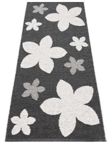 Horredsmattan Kunstfaser Outdoor Teppich für Haus und Garten, waschbar. Design FLOWER schwarz 150x250 cm