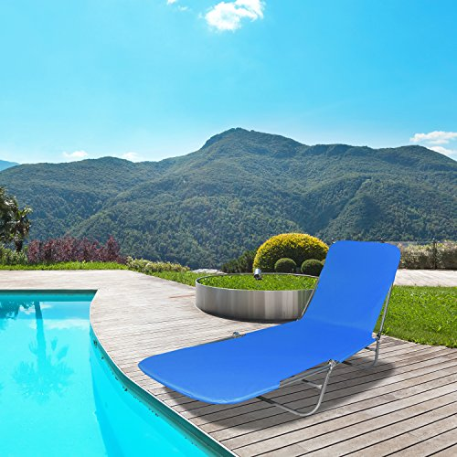 Folding Lounge Chaise, Beach Bed Lounger for Lawn, Pool Side, Patio and Camping that Lasts for Years! Heavy Duty Foldable Outdoor Tanning Cot, Lightweight Poolside Sunbathing Layout Chair, Blue