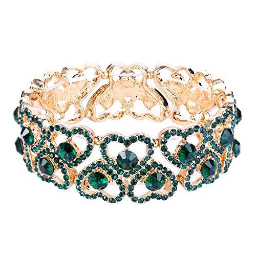 Ever Faith Damen Österreichische Kristall Sweet Heart Bridal Elastische Stretch-Armband Grün Gold-Ton
