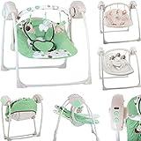 Babyschaukel (vollautomatisch 230V) mit 5 Schaukelgeschwindigkeiten und 12 Melodien (GRÜN)