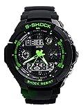 HCFKJ Multi Funzione Militare S-Shock Sport Orologio LED Impermeabile Allarme (Verde)