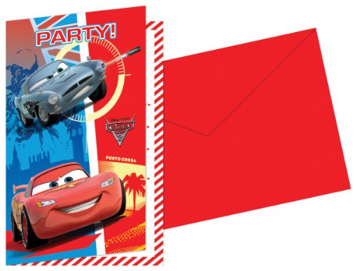 6 Invitations d'anniversaire avec des enveloppes Disney Pixar Cars 2