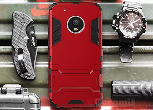 Preisvergleich Produktbild Motorola Moto G5 Plus Hülle, Cocomii Iron Man Armor NEW [Heavy Duty] Premium Tactical Grip Kickstand Shockproof Hard Bumper Shell [Military Defender] Full Body Dual Layer Rugged Cover Case Schutzhülle XT1684 XT1685 XT1687 (I.Red)