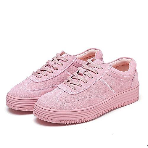Shenn Femme Lacets Modèle Plateforme Décontractée Cuir Baskets Mode Chaussures Rose