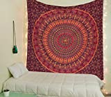 Raajsee Tentures Murales Indiennes Mandala/ Rouge Rose Tapisserie Mandala Hippie/ Psychedelique Bohemian Rideaux Orientale Decorations/ Couvre lit Twin 140x210 cm