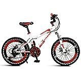 Bicicletas niños Estudiante montaña niños Velocidad Primavera, Cuadro de Acero al Carbono (Color : Red, Size : 18inches)
