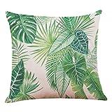 Lenfesh Fundas de Cojines Almohada de Plantas Tropicales Hoja Verde Decorativos Diseño para Sillas Camas Sofás Sofás (N)