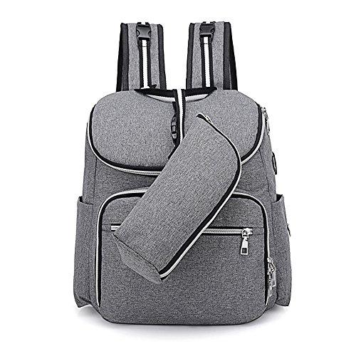 SZRWD Baby Wickelrucksack Wickeltasche, Babytasche Rucksack mit Lager-Kapazität und zusätzlicher Isolierung Portable Pocket, stilvolles Design Reisen und Outdoor-Aktivitäten mit Baby, Grau