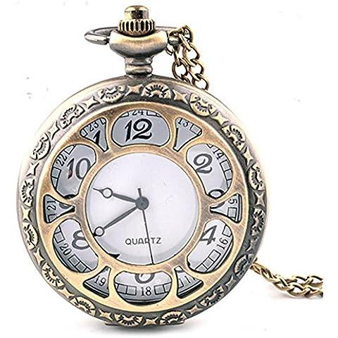 Moda Vintage tallado calado concha collar reloj de bolsillo