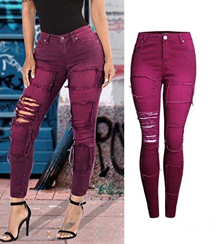 Baymate Femmes Casual Pantalon Jeans Slim Rétro Trous Skinny Longues Crayon Un Pantalons Vin Rouge