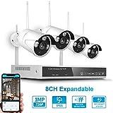 OWSOO Sicherheits überwachungssystem 8CH NVR 4 Kameras Drahtloses NVR-Kit Nachtsicht Bewegungserkennung 2MP 720P HD WiFi Überwachungskamera für den Heimgebrauch Monitor P2P Alarmauslöser