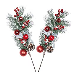 NAHUAA 2 Stück Künstliche Tannenzweige Deko Weihnachten Künstlich Stechpalme Beeren Tannenzapfen Zweige weihnachtsschmuck für Weihnachtesdeko Kranz Garten Geschenk Kamin Tischdeko Dekoration