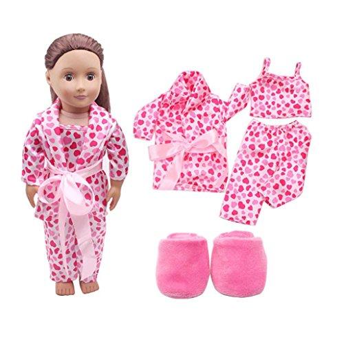 Elecenty Kinderspielzeug 5pcs Schuhe Kleiderset Puppen Schlafanzüge für 18inch Puppen mit Hübscher Kleidung Oberteile + Hosen + Hosenträger + Slipper Babyspielzeug (5pcs, Rosa)