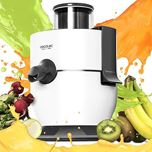 Cecotec Licuadora orbital para extraer el jugo de frutas y verduras. Canal de entrada XL. Con 19.000 rpm y 650 W de potencia máxima. Recubrimiento de titanio en el disco. StrongTitanium 19000