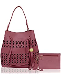 Kleio Stylish Combo Of 2 Laser Cut Top Handle Tote Shoulder Hand Bag For Women / Girls