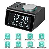 M ZIMOON Alarm Clock Radio, Digital Radio Clock Bedside Clock with Dual USB,Temperature