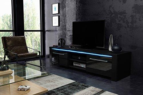 Tv Schrank MANHATAN Tv Lowboard Unterschrank Mit LED !!! (schwarz matt / schwarz halbglanz)