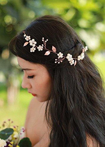 Gracewedding Kopfschmuck / Brautschmuck, geeignet für die Hochzeit, Rotgold, griechischer Stil, Reben- und Blatt-Design, Kristallsteine, Vintage-Stil, Haar-Krone, Haar-Zubehör