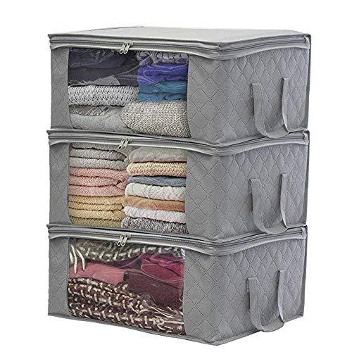 3 Pack Vlies Kleidung Veranstalter Taschen, Faltbare Lagerung Reißverschlusstasche, große dauerhafte Schrank Aufbewahrungsboxen Fall Container für Kleider Quilt -