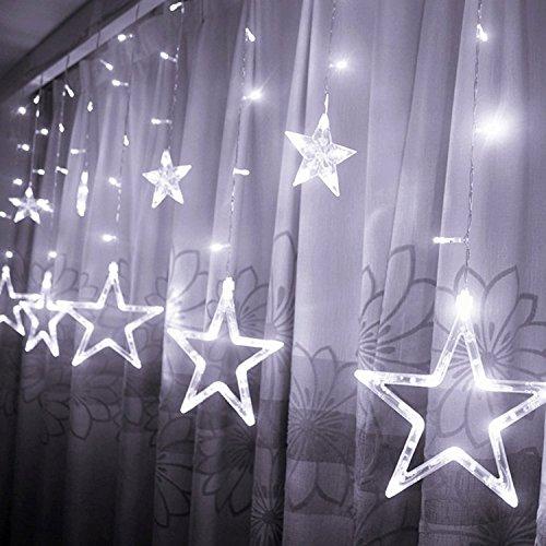 Étoiles Lumières de Rideaux, 12 Étoiles 138 Leds Guirlande lumineuse Eclairage Décoration pour Noël, Fête, Vacances, Mariages, Fenêtres, Rideaux