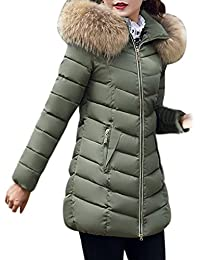 Keepwin Damen Winter Elegant Down Jacket, Frauen Moden Lang Winterjacke  Steppjacke Kunstpelz Fellkapuze Parka Mantel 4c7110c9bb
