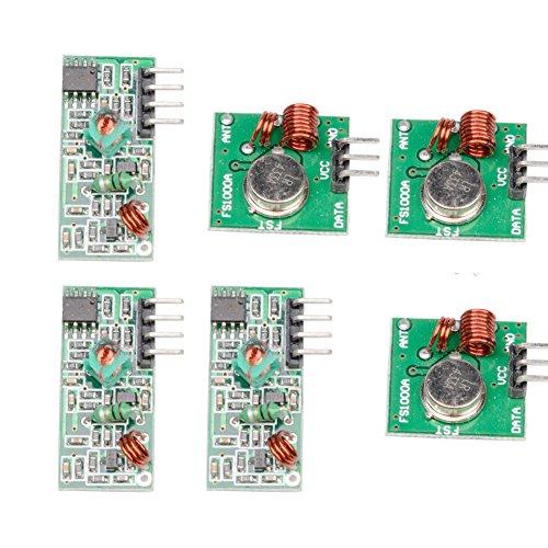 MUZOCT 3x 433MHz RF Transmisor Inalámbrico y Receptor Kit de Enlace de Módulo para Arduino, Brazo, McU, Raspberry Pi, Inalámbrico DIY