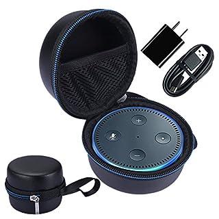 NiceCool für Amazon Echo Dot and All-New Echo Dot (2nd Generation) Tragbare Bluetooth Lautsprecher EVA Stoßfest Tasche Hülle Case - kompatibel mit USB-Kabel und Ladegerät (Blau)