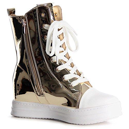 topschuhe24 1037 Damen Sneaker Turnschuhe Hochschaft Hidden Wedges Gold