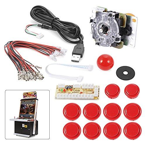 XCSOURCE® Cero retardo del juego de arcada USB codificador PC Joystick Kit de bricolaje para Mame Jamma y otras PC Juegos de Lucha Rojo AC488