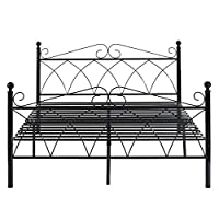 HOMYCASA Metal Bed Frame, Two Headboards 6 Legs Mattress Foundation Black Platform Bed Frame Box Spring Replacement for Boys Kids Adult Bedroom