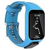 Xshuai Sports montre bracelet Sangle de élastique en silicone Femme Bracelet de rechange pour montre GPS TomTom Spark/3Sport M bleu