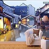 zxcv Wallpaper 3D Mittelmeer, Jiangnan Water Town Landschaft Wallpaper Restaurant Restaurant Hintergrundbild Freizeit Drink Große Fresken,400cmx280cm