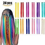 Kyerivs - Extensiones de pelo con clip de colores, 55,88 cm, resistente al calor,...