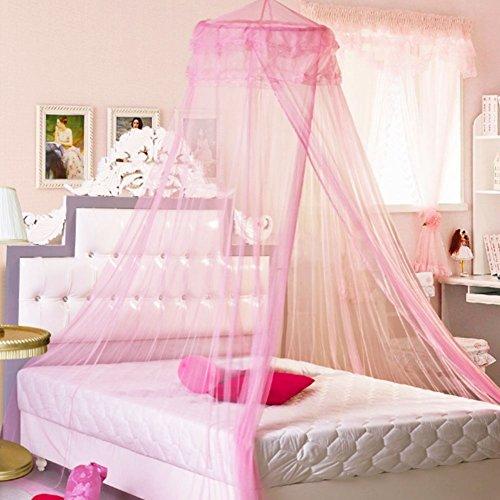 Preisvergleich Produktbild Ailier Bed Mosquito Netze Großes Baldachin Netting Vorhang Bett Netz mit Complete Hanging Kit hält weg Insekten & Fliegen Outdoor Indoor Ideal für zu Hause oder Urlaub (260 * 1150, rosa)