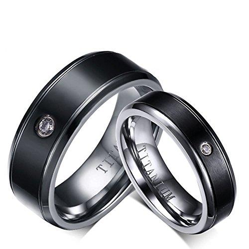 Adisaer Ring Damen Zirkonia Ring Schwarz Verlobung Herren Schwarz Titanring Elegant Schwarz Flat Glatt Band Hoch Poliert Glänzend Hochzeit Band Kostenlos Gravur 1 Paar Ringe Für Pärchen