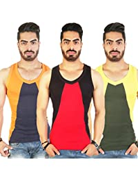 White Moon Men's Multicolour Cotton Gym Vest For Gym,Casual,Athletic Or Running Pack Of 3 - B079QHG18K