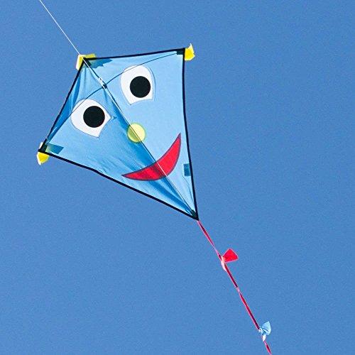 CIM Kinderdrachen - Happy Eddy Blue - Einleiner für Kinder ab 3 Jahren - Abmessung: 67x70cm - inkl. 80m Drachenschnur und Schleifenschwanz