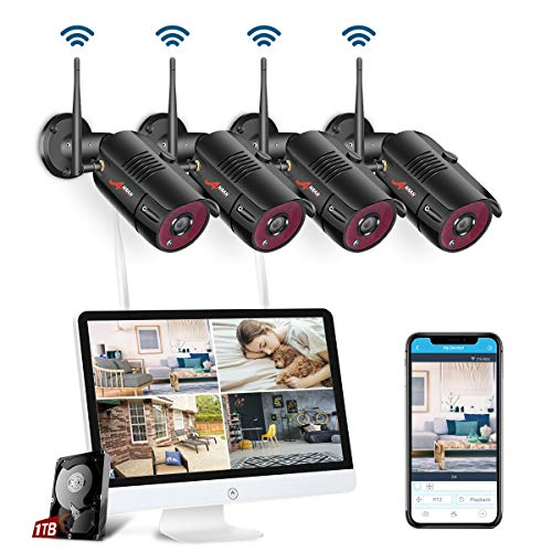 【All-In-One】 WLAN Überwachungskamera Set System, Home Security Camera System mit 15.6 Zoll LCD-Monitor, 4Stk. Drahtlos Außen 1080P HD IP-Kamera,Einfacher Fernzugriff, 1TB Festplatte SWINWAY Lcd-dvr Security System