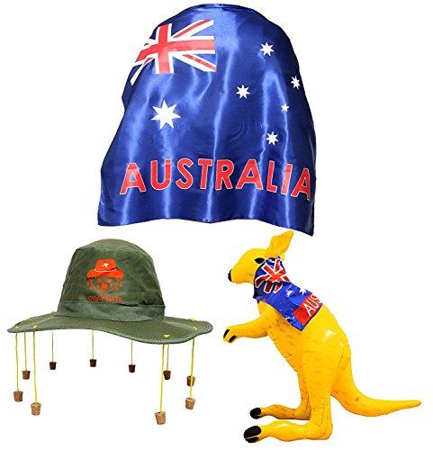 (Australien Tag Kostüm - Große Flagge + Australischer Korkhut + Aufblasbares Känguru OZ Kostüm Dundee)